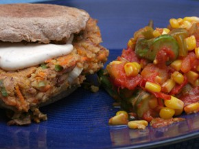 Veggie Burgers and Stewed Corn and Tomatoes with Okra