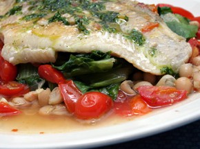 Slow-Poached Halibut with White Beans and Escarole
