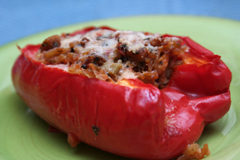 Black-Bean Tostadas with Corn Relish and Stuffed Peppers with Tomato ...