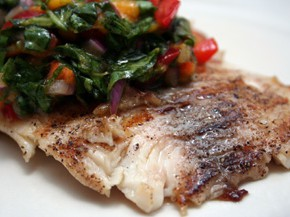 Grilled Fish with Tropical Relish and Black-Eyed Susan Salad