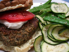 Bulgur Veggie Burgers with Lime Mayonnaise and Zucchini and Snow-Pea Salad