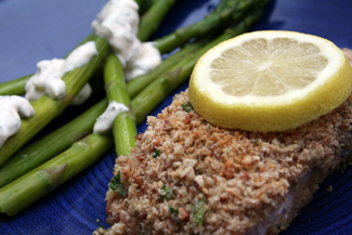 Alaska Salmon Bake with Pecan Crunch Coating and Asparagus ...