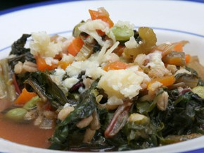 Chard and Pearl Barley Stew and No-Cook Cannellini Salad with Pesto Dressing