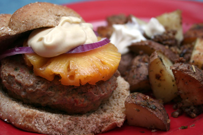 Teriyaki Turkey Burger and Pecan Roasted Potatoes