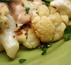 Mediterranean Grain Salad and Roasted Cauliflower in Lemon-Tahini Sauce