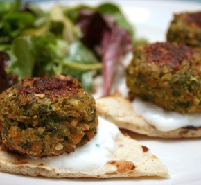 Falafels with Cucumber-Yogurt Sauce, Cranberry Pecan Salad, Lemony Blueberry Muffins