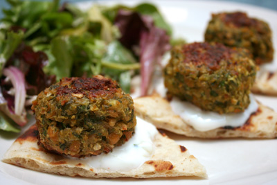 Falafels and Cranberry Pecan Salad