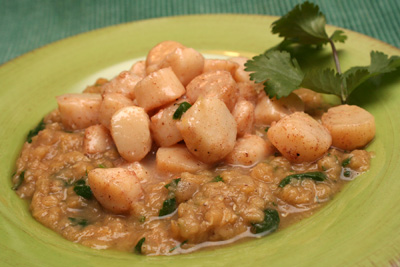 Moroccan-Spiced Scallops and Lentils