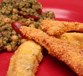 Cornmeal-Crusted Fish Sticks and Lemony Bulgur with Arugula