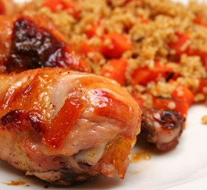 Orange-Glazed Chicken with Carrots and Bulgur and Green Squash Soup
