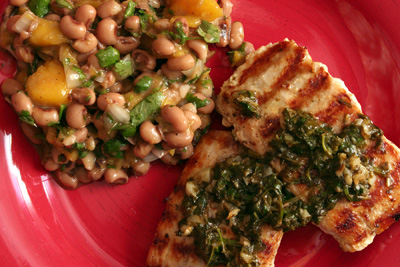 Grilled Halibut with Cilantro Garlic Butter and Two-Bean and Mango ...