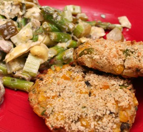 Corn and Potato Cakes and Mushroom, Asparagus, and Artichoke Salad
