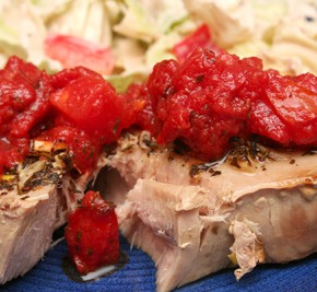 Tuna Steaks with Sweet-and-Sour Tomato-Basil Relish and Marinated Artichoke Coleslaw