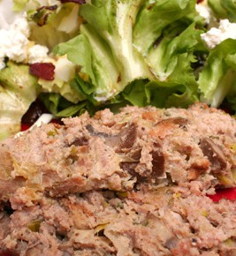 Turkey Meatloaf with Fontina and Mushrooms and Warm Escarole Salad with Goat Cheese, Hard-Boiled Eggs, and Bacon