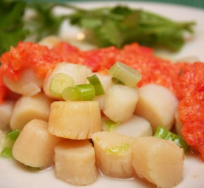 Scallops with Red Pepper Sauce and Zucchini Corn Fritters