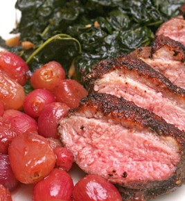 Spice-Rubbed Duck Breasts with Roasted Grapes and Cavolo Nero and Zesty Lemon Potatoes