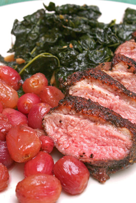 Spice-Rubbed Duck Breasts with Roasted Grapes and Cavolo Nero and ...