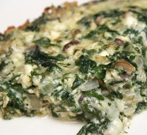 Crustless Dill Spinach Quiche with Mushrooms and Cheese and Pesto ...