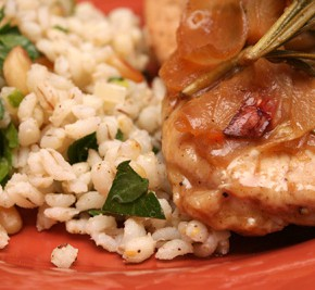 Turkey Cutlets with Rosemary and Shallots and Barley Pilaf