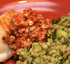 Skillet-Roasted Fish Fillets and Barley-Brown Rice Salad