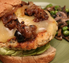 Provencal Chicken Burgers with Pizzaladiere Topping