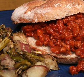 Grown-Up Sloppy Joes and Oven-Roasted Red Potatoes and Asparagus