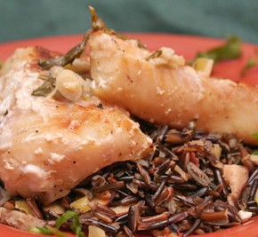 Grilled Mahi-Mahi with Thai Coconut Sauce and Wild Rice with Shiitakes and Toasted Almonds