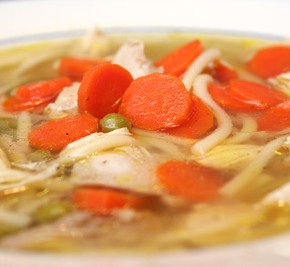 Six-Ingredient Chicken Noodle Soup and Fresh Corn Spoon Bread