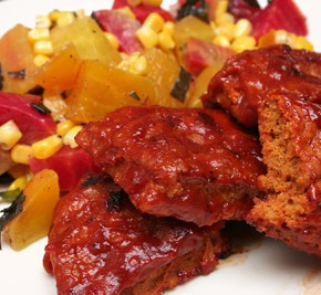 Homemade Seitan Barbecue Ribs and Sweet Corn with Baby Beets and Basil