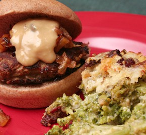 Maple Apple Turkey Burgers and Broccoli Cheese Casserole