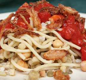Koshary (Pasta, Lentils, Chickpeas, and Fried Onions)