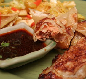 Shrimp Pot Stickers with Sriracha-Ginger Dipping Sauce and Cabbage-Miso Slaw