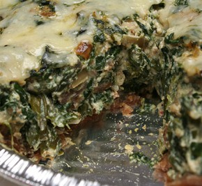 Spinach and Red Chard Quiche and Bacon Fried Rice