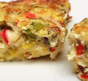 Egg and Cheese Casserole with Leeks, Red Pepper, and Bacon and Green Tea Infused Sunroot Soup