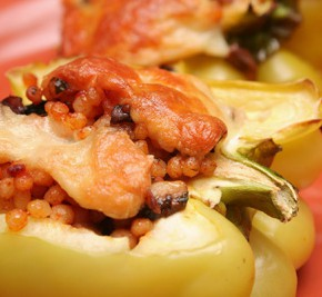 Couscous and Cremini Stuffed Bell Peppers with Manchego and New England Fish Chowder