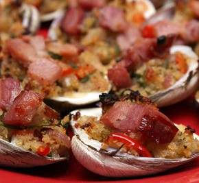 Classic Clams Casino, Fricassee of Chanterelles, and Zucchini and Spinach Gratin