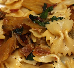 Farfalle with Golden Beets, Beet Greens, and Prosciutto
