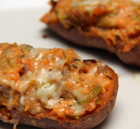 Twice-Baked Sweet Potatoes with Leeks and Sausage and Milk-Braised Zucchini