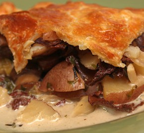 Potato, Cheese and Mushroom Pie and Escarole Salad with Provolone, Warm White Beans and Prosciutto Crisps