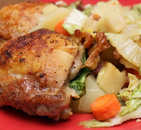 Braised Chicken Thighs with Winter Vegetables and Green Couscous