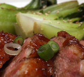 Plum-Glazed Duck Breasts and Bok Choy Stir-Fry with Ginger and Garlic