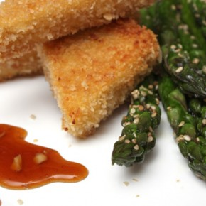 Crispy Tofu with Sesame Asparagus and Hoisin Dipping Sauce and Sesame Almond Brown Rice Balls