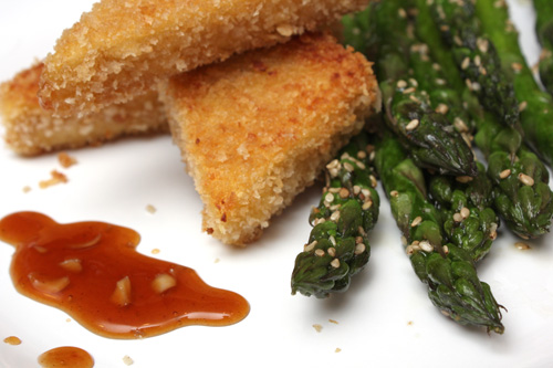 Crispy Tofu With Sesame Asparagus And Dipping Sauce Recipe ...