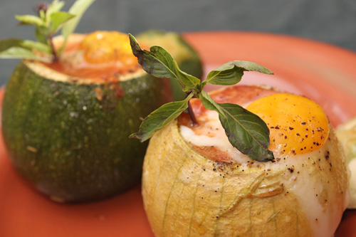 Eight-Ball Zucchini with Eggs Baked Inside | Camille Cooks