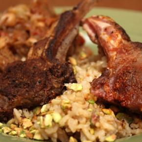 Lamb Chops and Eggplant with Indian Spices and Basmati Rice Pilaf with Pistachios