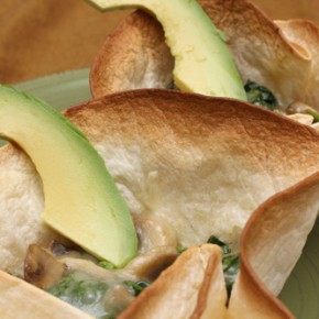 Mushroom-and-Spinach Cups and Greek Yellow Split Pea Puree