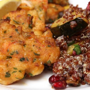 Shrimp Fritters and Quinoa with Acorn Squash and Pomegranate
