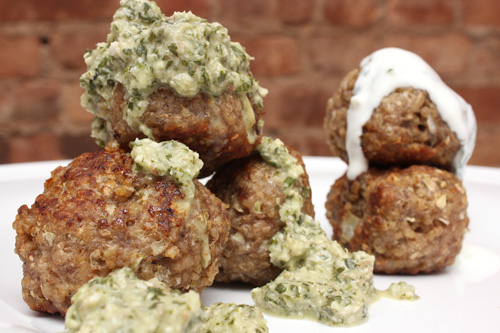 Turkey Kibbe Meatballs w/Two Sauces