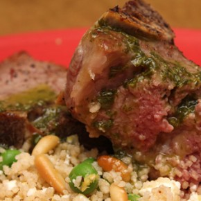 Grilled Lamb Chops with Mint and Basil Sauce and Mediterranean Couscous with Peas
