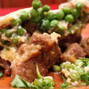 Braised Lamb Shoulder with Spring Peas and Eggs and Mushroom Barley Salad